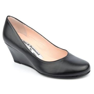 Chaussures cuir lisse talons compensés, noires, Yves de Beaumond, petites pointures, talons 6 cm, Muriel, 4079