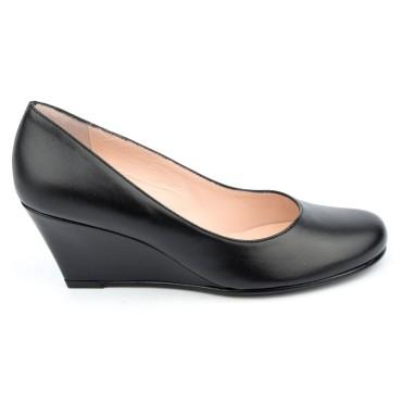 Chaussures cuir lisse talons compensés, noires, Maria Jamy, petites pointures, talons 6 cm, 4179