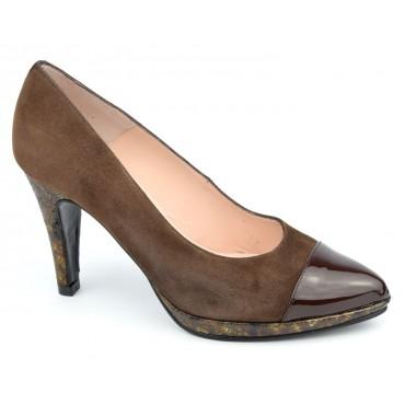 Escarpins plateforme, cuir daim, marrons, Yves de Beaumond, femmes petites pointures, 8608, Sailsbury