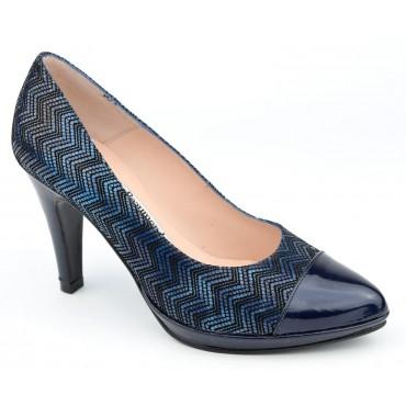 Escarpins plateforme, cuir à motif bleu, Yves de Beaumond, femmes petites pointures, 8608, Bracknell