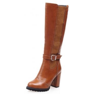 Bottes aspect cuir lisse, marrons, talon 8,5, femmes petites pointures, Michaella