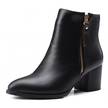 Bottines noires, aspect cuir mate, bouts pointus, Petits talons 6 cm, femmes petites pointures, Olinda