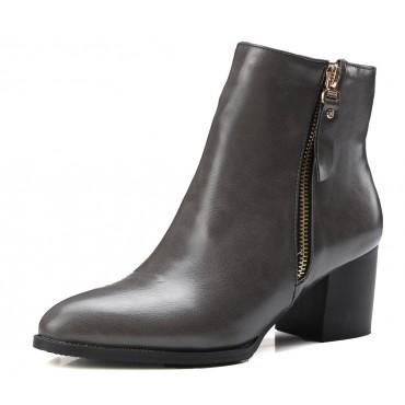 Bottines gris foncé, aspect cuir mate, bouts pointus, Petits talons 6 cm, femmes petites pointures, Olinda