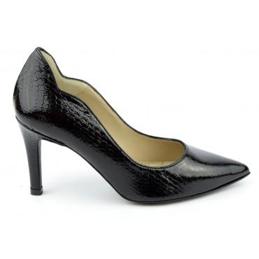 Escarpins cuir, croco verni noire, Brenda Zaro, bouts pointus, Talons 8 cm, F1059A, téva