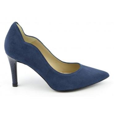 Escarpins cuir, daim bleu irisé, Brenda Zaro, bouts pointus, Talons 8 cm, Téva, F1059A