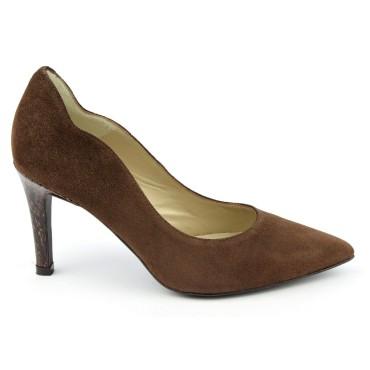 Escarpins cuir, daim marron, Brenda Zaro, bouts pointus, Talons 8 cm, Téva, F1059A