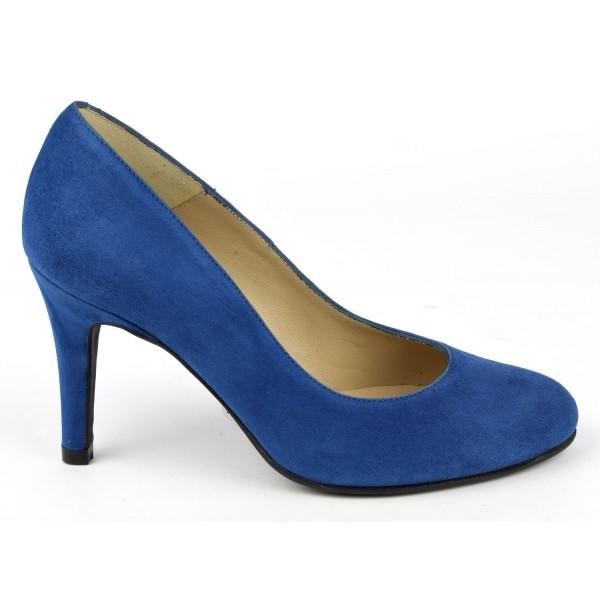 Escarpins cuir daim, Brenda Zaro, bleu roi clair, Talon 8 cm, Delfina