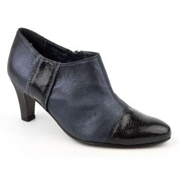 Bottines cuir, Low Boots, bleu irisé, talons 6.5 cm, femmes petites pointures, Un Tour en Ville, Mecrin.