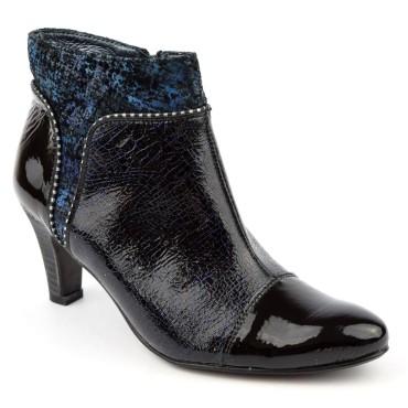 Bottines cuir, noire et bleu, talons 6.5 cm, femmes petites pointures, Un Tour en Ville, Mefaq.