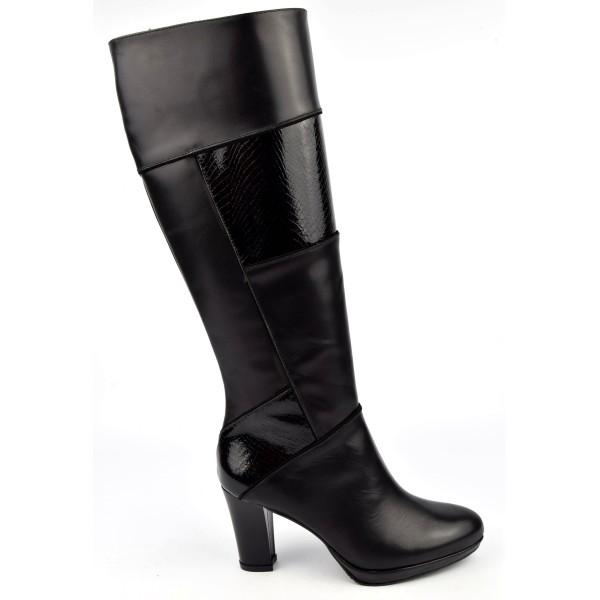 Bottes noires, cuir lisse et croco verni, Brenda Zaro, femmes petites pointures, Meringue, F1136