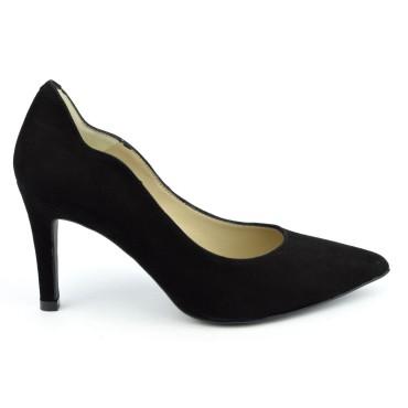 Escarpins cuir, daim noires, Brenda Zaro, bouts pointus, Talons 8 cm, Téva, F1059A