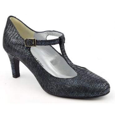 Escarpins cuir fantaisie, Brenda Zaro, Bride, talon 6,5 cm, bleu marine pailleté, bouts ronds, Siena