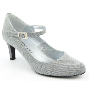 Escarpins Cuir Glitter, argent, brides, petites pointures, talons 6,5 cm, Lyssa