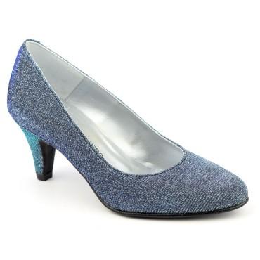 Escarpins Cuir Glitter, bleus, petites pointures, Talons 6.5 cm, Naévia