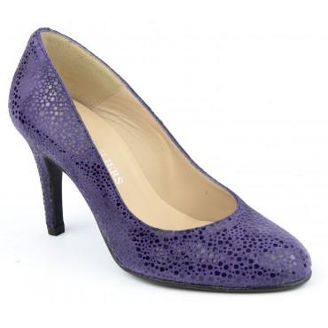 Escarpins cuir fantaisie, violets, Brenda Zaro, talon 8 cm, Galeana