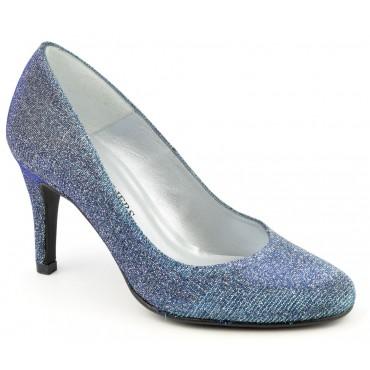 Escarpins Cuir Glitter, bleus, petites pointures, Talons 8 cm, Naévia, F96559