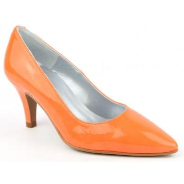 Escarpins pointus, cuir, verni, Brenda Zaro, oranges, F97803D