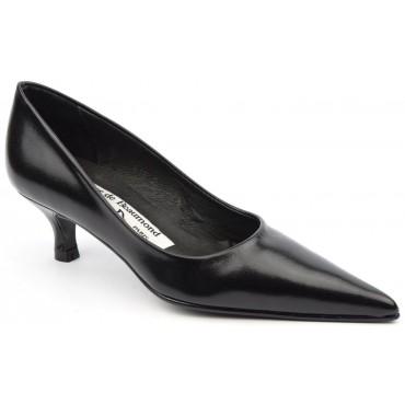 Escarpins cuir, noires,bouts pointus, Yves de Beaumond, petites pointures, talons 5 cm, Brielle