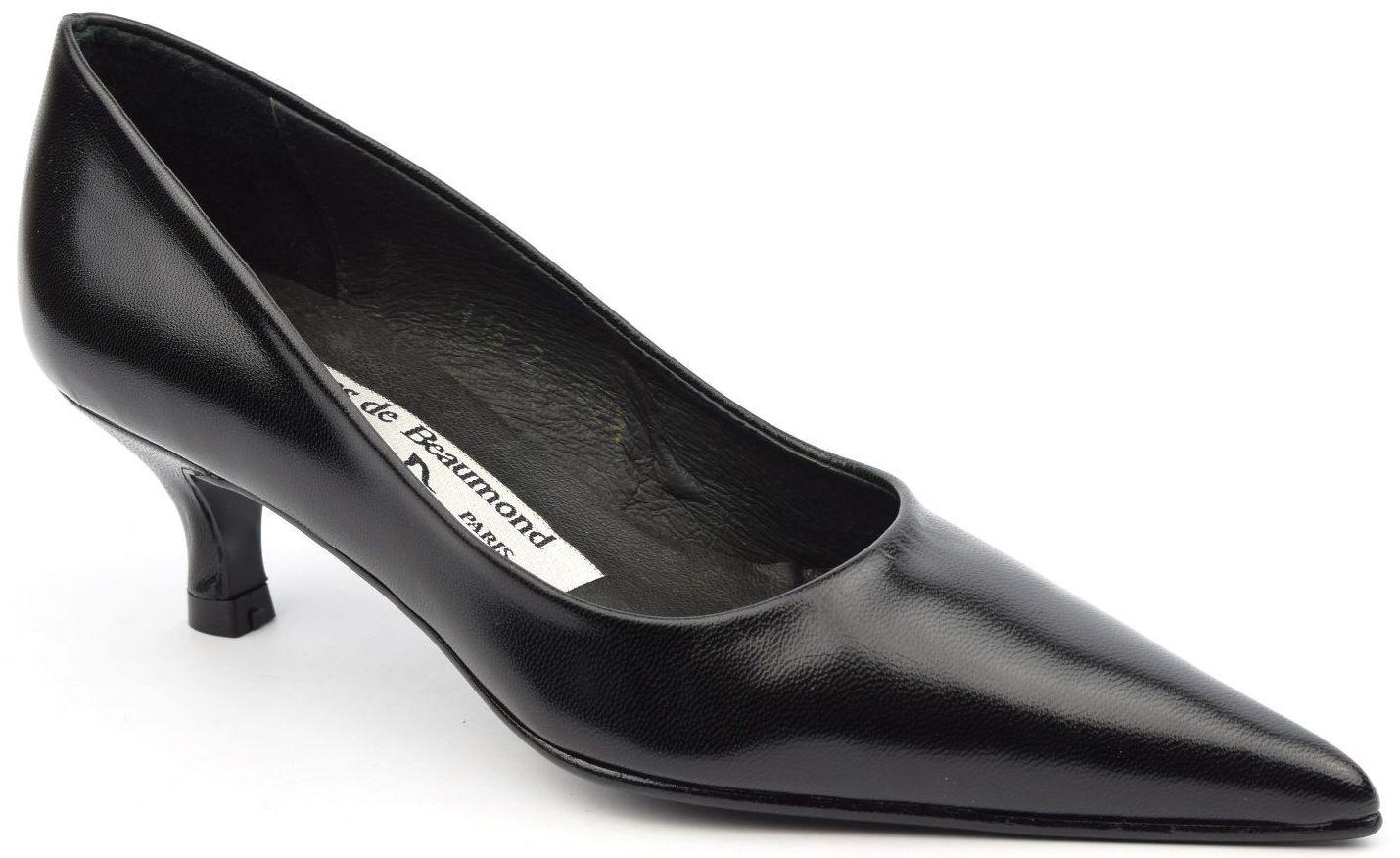 Escarpins cuir, noires,bouts pointus, Yves de Beaumond