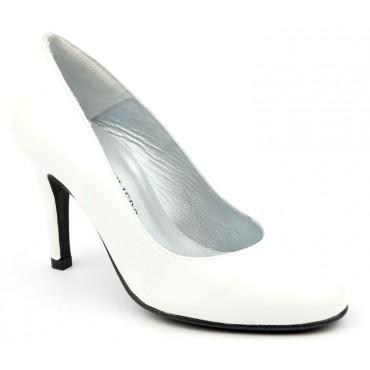 Escarpins Cuir Verni Brenda Zaro, blancs, Talon 8 cm, F96559