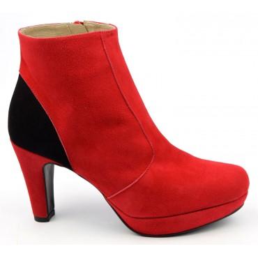 Bottines plateforme, cuir daim, rouge, Brenda Zaro, petites pointures, F97510, Lady