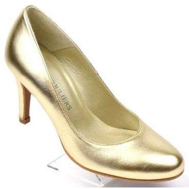 Escarpins Cuir brillant petites pointures, Or, Talon 8 cm, F96559