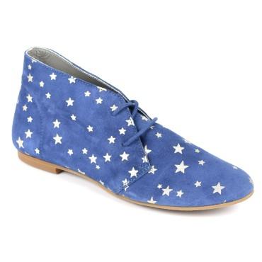 Bottines cuir velour plates, bleues, imprimées étoiles, pointure 35, Star