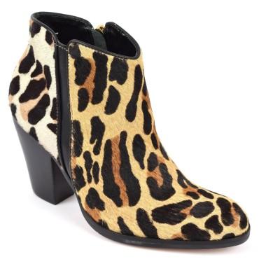 Bottines, cuir de vachette, léopard, pointure 35,5 - Talon 8 cm, Ona
