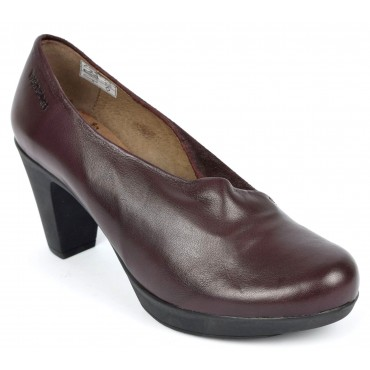 Bottines, cuir, bordeaux, talon 7 cm, pointure 35, Ilna