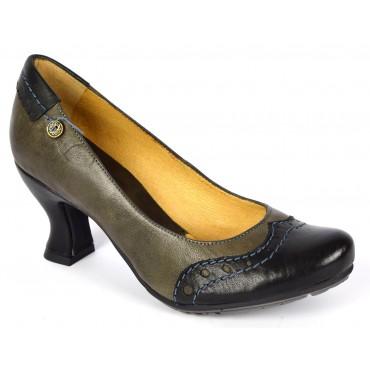 Escarpins, cuir , kaki, talon 6 cm, pointure 35,5, Augustine