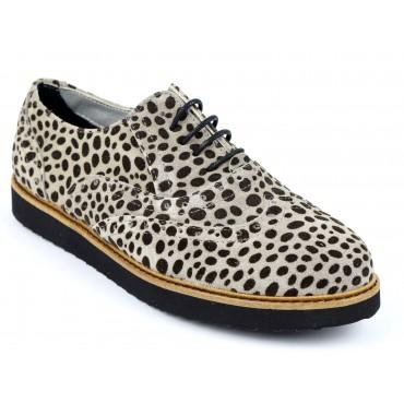 Chaussures cuir daim imprimées léopard, plate, à lacets, Batia