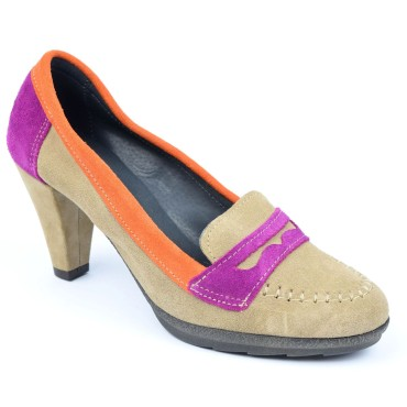Mocassins, daim, talon 7 cm, pointure 35,5, multi-color, Berivan