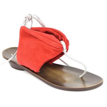Sandales cuir et velour rouges, pointure 35, à lanières métalisées, Freya