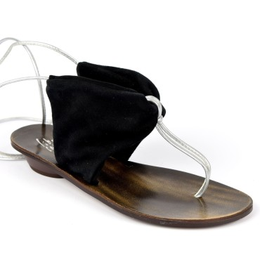 Sandales cuir et velour noires, pointure 35, à lanières métalisées, Freya