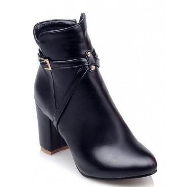 Bottines noires, aspect cuir mate, bouts pointus, talons 8 cm, femmes petites pointures, Mourom