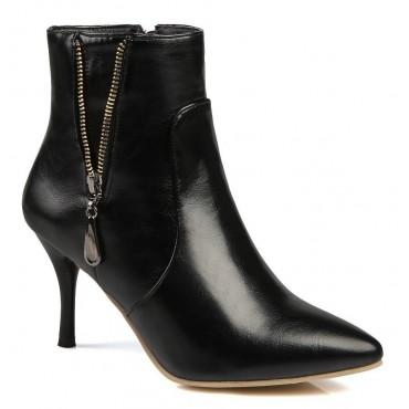 Bottines noires, aspect cuir mate, bouts pointus,hauts talons 8,5 cm, femmes petites pointures, Ardon