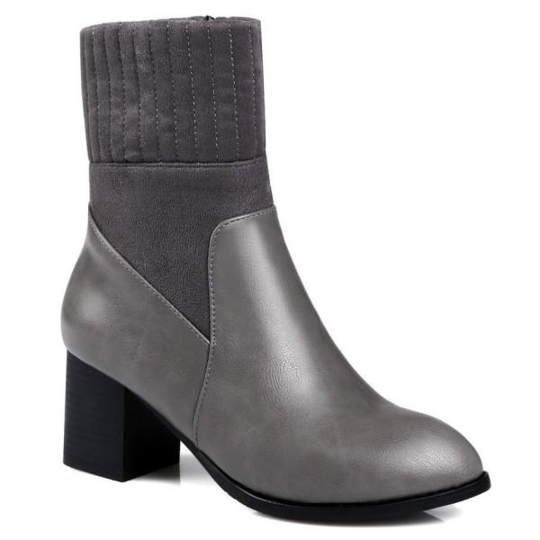 Bottines chaussettes, aspect cuir mate gris, talons 6 cm, Linsar, femmes petits petite pointure