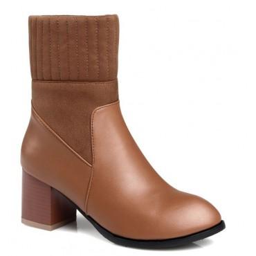 Bottines chaussettes, aspect cuir mate miel, talons 6 cm, femmes petits petite pointure, Linsar.