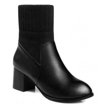 Bottines chaussettes, aspect cuir mate noire, talons 6 cm, Linsar, femmes petits petite pointure