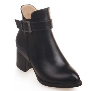 Bottines noires, aspect cuir mate, bouts pointus, Petits talons 6 cm, femmes petites pointures, Sotchi