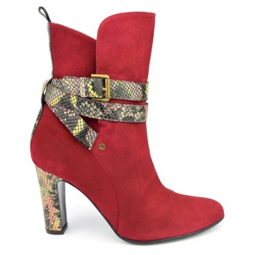 Bottines cuir daim, rouges, brides motif serpent, Yves de beaumond, MI-415, Kingswood