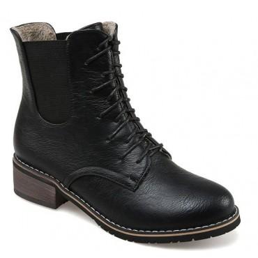 Bottines lacets, petits talons 3.5 cm, aspect cuir mate, noires, femmes petites pointures, Salvador