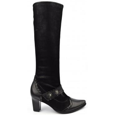 Bottes cuir daim frotté stretch, Metayer, noires, talon 6,5 cm, Faodil, femmes petites pointures