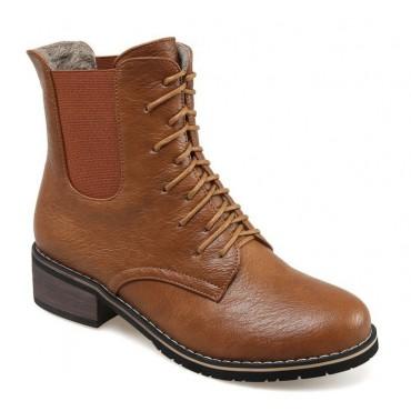 Bottines lacets, petits talons 3.5 cm, aspect cuir mate, marron miel, femmes petites pointures, Salvador