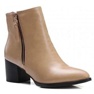 Bottines camel, aspect cuir mate, bouts pointus, Petits talons 6 cm, femmes petites pointures, Olinda