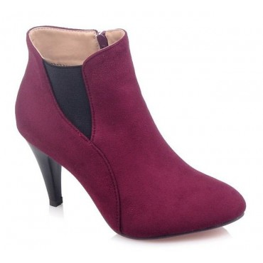 Bottines, bouts pointus, aspect daim, bordeaux, talons 8 cm, Kazan
