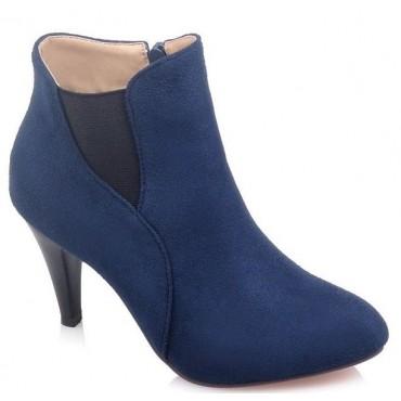 Bottines, bouts pointus, aspect daim, bleues, talons 8 cm, Kazan