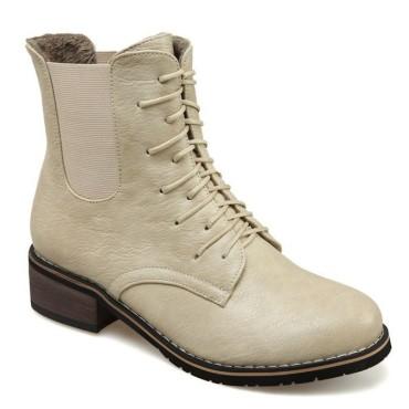 Bottines lacets, petits talons 3.5 cm, aspect cuir mate, beige crème, femmes petites pointures, Salvador