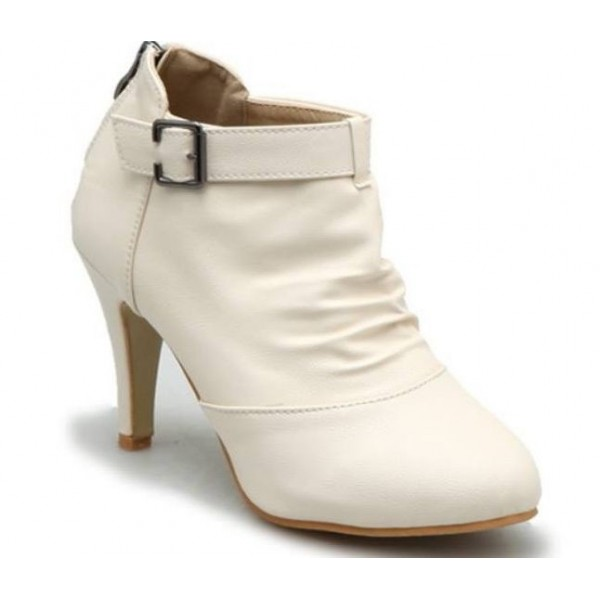 Bottines femmes petites pointures, cuir souple, blanches, petits talons, Kesly