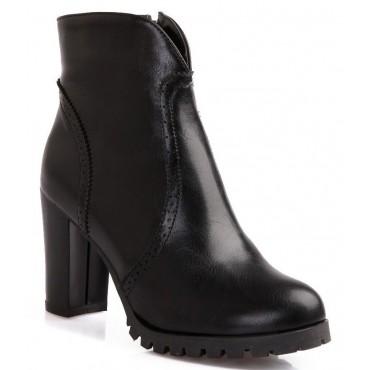 Bottines, aspect cuir lisse, talon 8 cm, noires, femmes, petites pointures, Texas